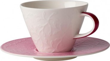 Villeroy-Boch-Caffe-Club-Floral-Touch-of-Rose-Cafe-au-lait-Obertasse-Untertasse